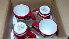 Vintage Hallmark Christmas coffee mug set (4) Red christmas with white stripes.