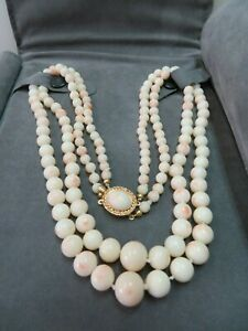 """Vtg 14k Coral Clasp Angel Skin Coral Graduated Double Strand Necklace  18"""" & 19"""""""
