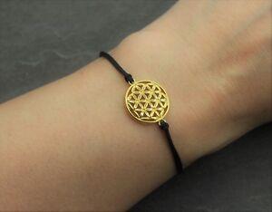 Lebensblume Armband Blume des Lebens in Gold Schwarz Rosa Rot Grün Freundschaft