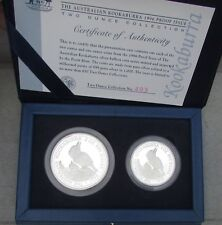 KOOKABURRA 1996 PROOF ISSUE 2 0Z COLLECTION .999 SILVER  2 & 1 OZ COINS