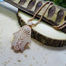 Dazzling Rose-Gold CZ Hamsa Pendant Necklace