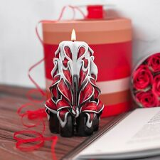 White Red Black Hand Carved candles Unique handmade gift candle 5 inch / 12 cm