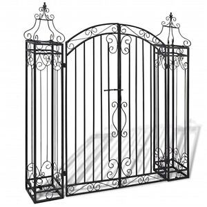 Ornamental Garden Gate Wrought Iron Black Double Opening Patio Side Gates