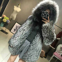 Top Quality Women's Real Silver Red Vulpes Fox Fur Coat Jacket Hooded Overcoat