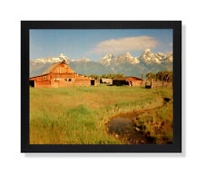 Historic Old Wood Barn In The Grand Teton Wall Picture Black Framed Art Print