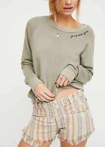 Free People Nude Stripe Morning Rain Shorts BNWT Size 14 UK 10 Us RRP $78