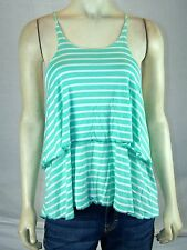 City Halo Green Ivory Striped Tank Top Cami Shirt Juniors Size Medium 7 9 NEW