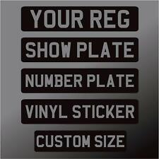 SELF ADHESIVE Black Silver Stick on number plate front Sticker Classic Show Car