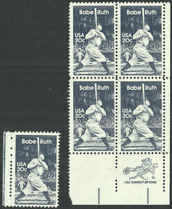 Scott 2046, Babe Ruth 20¢ Zip Block of 4 w/single from 1983 - Mint, Never HInged