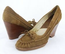 Michael Kors Women's Brown Suede Moc Toe w Bow High Heel Loafer Wedges Size 9.5M