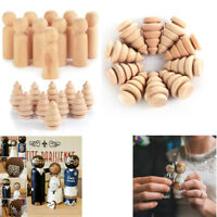 Funny Wooden Peg People Nesting Set Peg Dolls Crafts DIY Montessori Toy