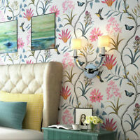 10M American Country Flowers Birds Non-woven Embossed Textured Wallpaper Roll