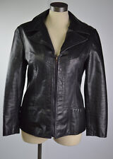 Women's Black Leather Motorcycle Jacket Coat  Vetement Jeez Montreal Canada XS