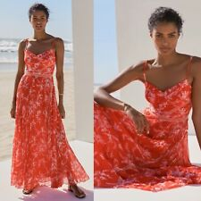 LOVELY KAREN MILLEN RED MULTI PLEATED FLORAL MAXI DRESS UK SIZE 14 RRP £299