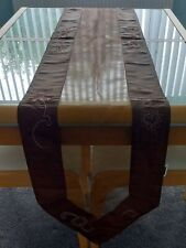 KIRKTON HOUSE BROWN ORGANZA TABLE RUNNER WITH EMBROIDERED SATIN EDGES