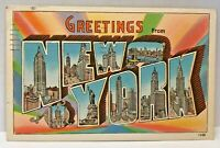 Vintage Postcard New York c.1930-1945 Linen Greetings From New York Skyscrapers