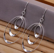 Beautiful Women's Jewelry Fashion Earring 925 Silver Tri-Ring Droop Style