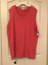 CHEROKEE NWT Redish Pink 100% Cotton Sleeveless Scoop Neck Sweater Vest SIZE 3X