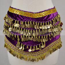 Silver Gold Coins Sequins Beads Band Belly Dance Hip Scarf Wrap Belt Velvet