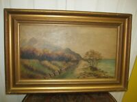 20TH CENTURY IRISH OIL ON CANVAS A VIEW OF MOUNTAIN, SEA AND SHEEP