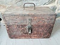 Antique Primitive Wood Tool Art Storage Box W Handle