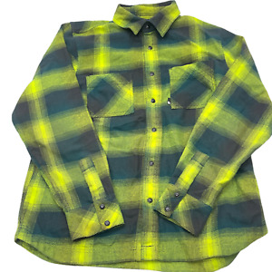 The North Face Men's Flannel Plaid Snap Button Long Sleeve Shirt Size M Green