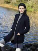 Aran Crafts Navy Long Merino Knitted Coat Cardigan sh4788 - Made in Ireland