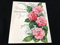 #556 Beautiful Vintage 1940S Wedding Bridal Greeting Card Camelias Lily Of The V