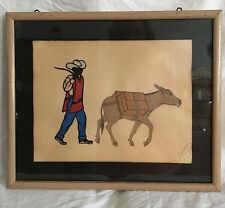 Vintage Mexican Merchant & Mule Framed Fabric Paper Folk Art/Papel Picado Signed