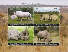 Madagascar 2018 CTO White Rhinoceros Rhinos 4v M/S Wild Animals Stamps