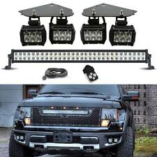 "Fits Ford F150 SVT Raptor LED Fog Lamp Kit Bumper Mount Bracket + 30"" Light Bar"