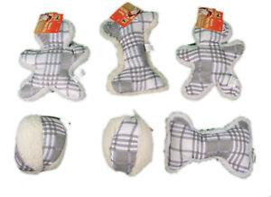 Gray Plaid Fleece Dog Toys Set of 6 With Squeaker Soft Plush