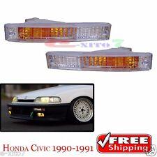 LH+RH White Bumper Park Turn Signal Light lamp 1990 1991 Honda Civic SH4 EF2 New