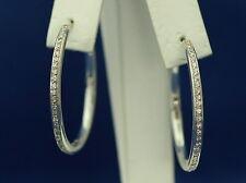 14kt White Gold Large Diamond Hoop Earrings - 36mm