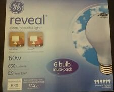 60W GE REVEAL 6 BULB MULTI-PACK OF GENERAL PURPOSE A19 LIGHT BULBS