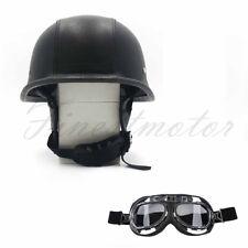 DOT German Black Leather Motorcycle Half Face Helmet Biker Pilot Goggles Size L