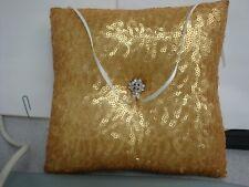 "Ivy Lane Design: Wedding Ring Pillow, Gold Sequines, 8""square, w/ribbon ties"