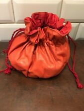 VINTAGE RED LEATHER SEWING BAG CRAFT BAG Repair Kit Storage WITH CONTENTS