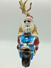 Blown Glass Santa Claus on Motorcycle Christmas Ornament
