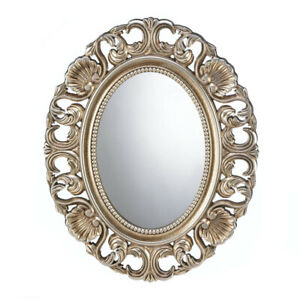 Deluxe Gilded Oval Wall Mirror (21 in x 17 in)