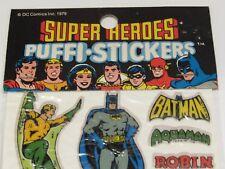 Vtg DC Superhero Stickers 1979 Puffi Batman Robin Green Arrow Aqua-man GL