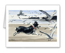 Border Collie At The Beach Set of 10 Note Cards With Envelopes