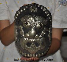 old Tibet buddhism Tibetan silver people face Skull head Bowl Kapala Skull Cup
