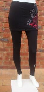 Desigual Black Cotton Stretch Leggings with Skirt NWOT sizes S M L XL