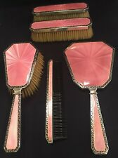 Outstanding Asprey - Five Piece Vanity Set - Sterling With Pink Gullioche Enamel