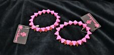 2 Hot Pink & Gold Tone Bracelet Geometric Design Elastic Stretch Fashion Jewelry