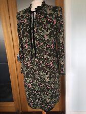 Ladies Daniel Hechter Paris Dress Size 14 - Khaki Green, Black Touch Pink Design