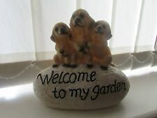 "LOVELY LATEX MOULD OF A "" WELCOME TO MY GARDEN "" STONE WITH THREE SMALL DOGS"
