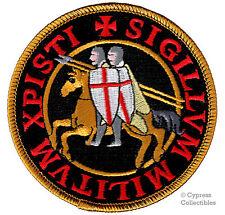 KNIGHTS TEMPLAR iron-on PATCH SIGILLVM MILITVM XPISTI CRUSADES CHRISTIAN ARMY BK
