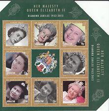 Gibraltar 2012 MNH Diamond Jubilee 6v Sheet Queen Elizabeth II Lifetime Service
